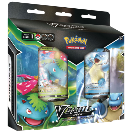 Blastoise V and Venusaur V do battle in an epic showdown between valiant Pokémon V! Contains two 60-card decks and everything you'll need to pit them against each other right away. The perfect way for you and a friend to get started in the Pokémon TCG.